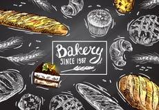 Panadería dibujada mano del ejemplo del vector ilustración del vector