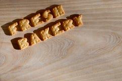 Panadería fresca Montón de letras comestibles Foto de archivo