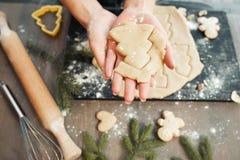 Panadería hecha en casa que hace, galletas del pan de jengibre Foto de archivo libre de regalías