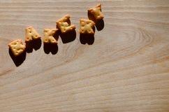 panadería Letras comestibles Imagenes de archivo