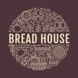 Panadería, plantilla del cartel de la casa del pan Vector la línea iconos, ejemplo de dulces, cruasán del pretzel, mollete, paste Fotos de archivo libres de regalías