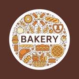 Panadería, plantilla del cartel de la casa del pan Vector la línea iconos, ejemplo de dulces, pretzel, cruasán, mollete, pasteles Fotos de archivo libres de regalías