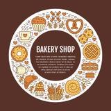 Panadería, plantilla del cartel de la confitería Vector la línea iconos, ejemplo de dulces, pretzel, cruasán, mollete de la comid Foto de archivo