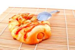 Panadería y cuchara tailandesas del pan de la salchicha Imagen de archivo libre de regalías
