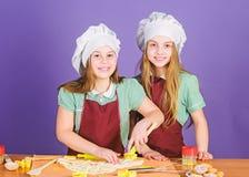 Panader?a de los pasteles que cocemos con la pasi?n Ni?as que cocinan el postre cocido dulce de los pasteles en cocina Preparaci? imagen de archivo