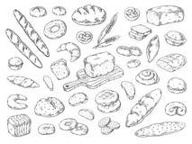 Panader?a dibujada mano Bosquejo del pan del garabato, tipos de harina de trigo del pan, plantilla gráfica del vintage Panecillos ilustración del vector