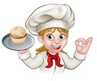 Panadero With Cupcake del chef de repostería de la mujer de la historieta ilustración del vector