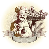 Panadero del estilo del grabar en madera con pan ilustración del vector