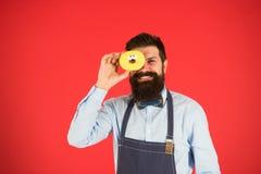 Panadero feliz Hombre del cocinero en café Caloría de la comida Hombre barbudo en delantal Comida del buñuelo Dieta y comida sana imagen de archivo