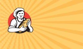 Panadero Holding Bread Loaf retro ilustración del vector