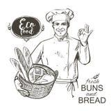 Panadero que lleva una cesta con pan stock de ilustración
