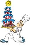 Panadero y torta americana Imagen de archivo libre de regalías