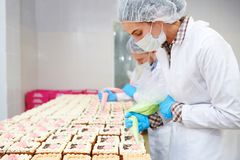 Panaderos profesionales de la vista lateral que causan las natillas foto de archivo