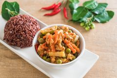 Panaeng Curry with pork and berry rice Stock Photography