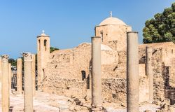 Panagia Chrysopolitissa Ayia Kyriaki教会在帕福斯,塞浦路斯 库存图片