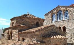 Panagia Ekatontapiliani kyrka i Paros, Grekland arkivbilder