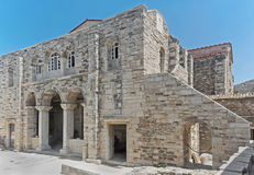 Panagia Ekatontapyliani in Parikia-stad, op het Eiland Paros in Griekenland Stock Foto's