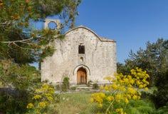 Panagia Kantariotissa教会遗骸在塞浦路斯 库存照片