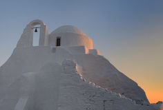 Panagia Paraportiani church at  Mykonos , Greece Stock Photo