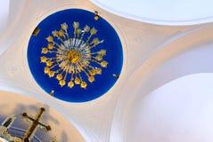 Panagia Stratolatissa chandelier cupola Stock Photos