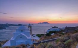 Panagia Thalassitra au coucher du soleil, Milos Images stock