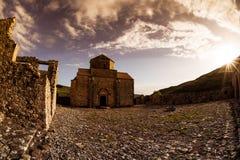 Panagia touSinti kloster på solnedgången Paphos område cyprus Arkivfoton