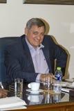Panagiotis Papadopoulos während des Besuchs von Botschafter des F.E. Lizenzfreies Stockbild