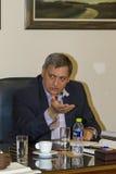 Panagiotis Papadopoulos während des Besuchs von Botschafter des F.E. Lizenzfreie Stockbilder