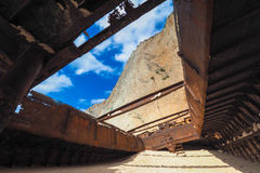 Panagiotis shipwreck at Navagio Beach Zakynthos Greece. View from inside Stock Image