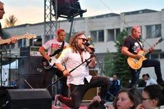 19/05/2018 Panagiurishte, Bulgarien rocken för bandillustrationmusiker silhouettes vektor sex Fotografering för Bildbyråer