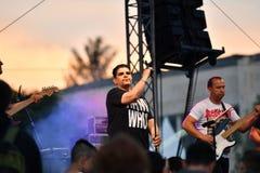 19/05/2018 Panagiurishte, Bulgarien rocken för bandillustrationmusiker silhouettes vektor sex Royaltyfri Fotografi