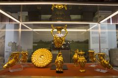 Panagyurishte Golden Treasure. Panagyurishte Treasure consists of a phiale, an amphora, three oinochoai and four rhytons with total weight of 6.164 kg of 24 Royalty Free Stock Image