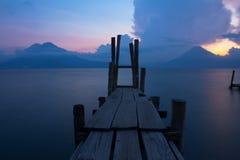 Panajachel Pier. The view of Lake Atitlan, Guatemala from Panajachel Stock Image