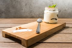 panakota in a jar on a kitchen board royalty free stock image
