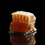 Panal orgánico con la miel aislada en fondo negro Fotografía de archivo libre de regalías