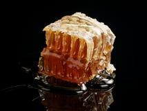 Panal orgánico con la miel aislada en fondo negro Imagen de archivo libre de regalías