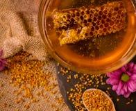 Panal, polen, propóleos, concepto de la miel imagenes de archivo
