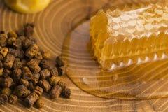 Panal, polen y propóleos Imagen de archivo