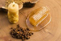 Panal, polen y propóleos Imágenes de archivo libres de regalías