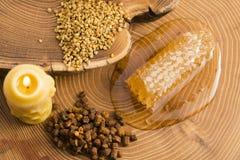 Panal, polen y propóleos Fotografía de archivo