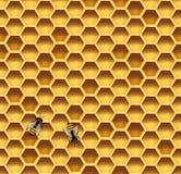 Panal y fondo inconsútil del vector de las abejas stock de ilustración