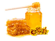 Panal y tarro dulces de miel con el palillo y las flores Imágenes de archivo libres de regalías