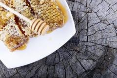 Panales y palillo a la miel en fondo de madera Imagen de archivo