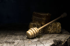Panales y palillo a la miel en fondo de madera Fotografía de archivo libre de regalías