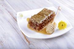 Panales y palillo para la miel en el fondo de madera blanco Imagen de archivo