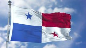 Panamá, CA - abril de 2017: Bandera de Panamá en un cielo azul Imagenes de archivo