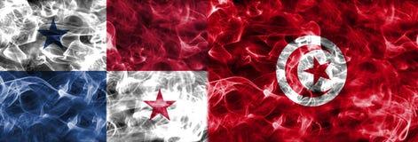 Panamá contra a bandeira do fumo de Tunísia, grupo G, campeonato do mundo 2018 do futebol, Ilustração do Vetor