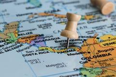 Panamá en un mapa Imagen de archivo libre de regalías