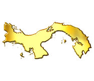 Panama 3d Golden Map Royalty Free Stock Image