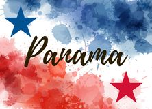 Panama background with watercolor splashes. Abstract watercolor splashes background in Panama national flag colors with stars. Template for holiday background royalty free illustration